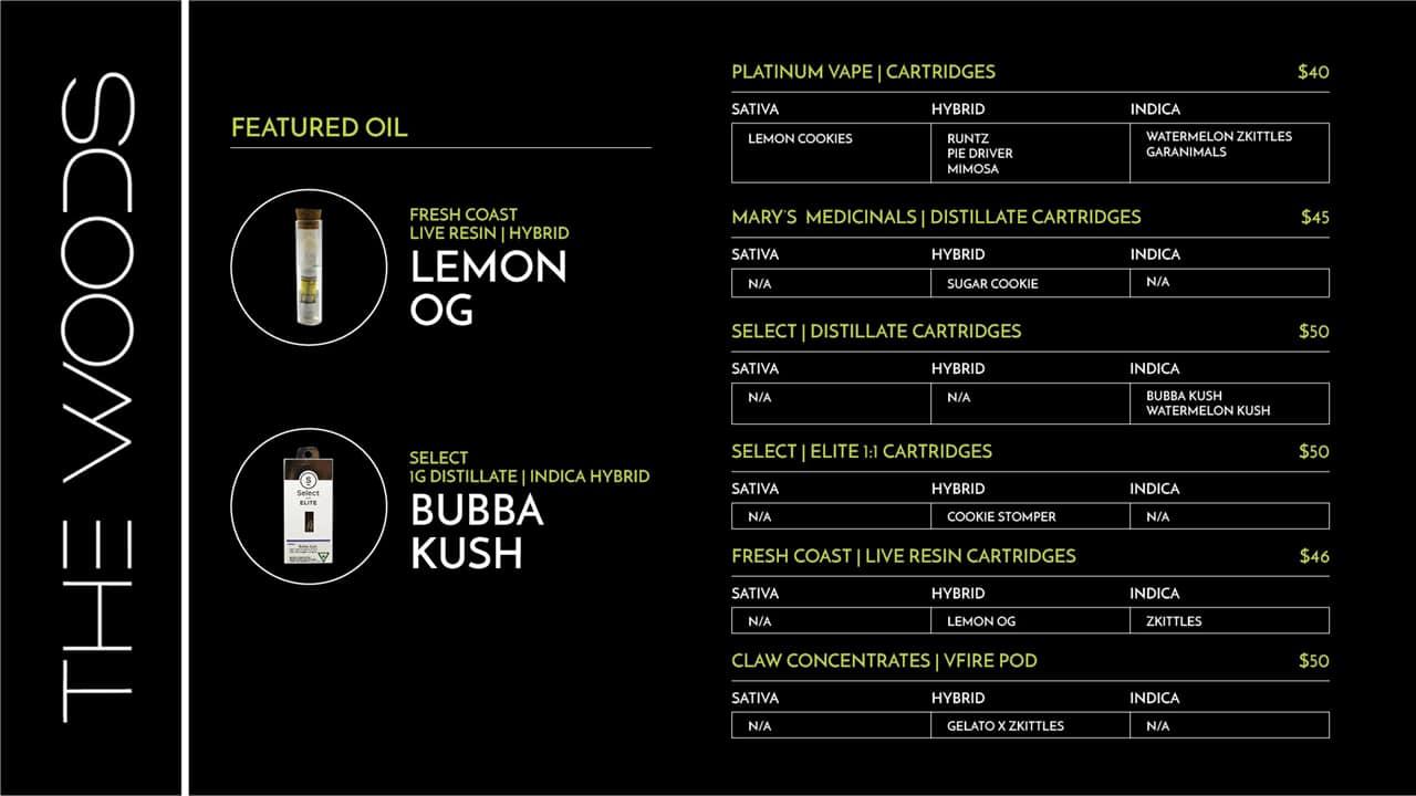 The Woods Detroit - TV Menu November - Compare Products - Cartridges